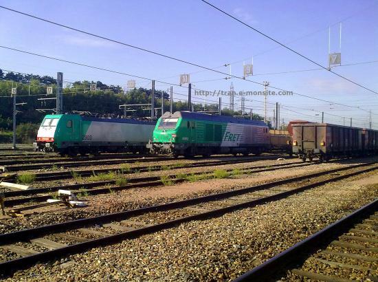 BR 186 Belge de chez ECR et BB 75115 SNCF au triage de Vallenton