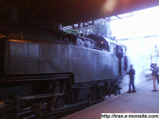 Locomotive à vapeur sncf 141 TD 740 en gare de bordeaux le 7/06/2009