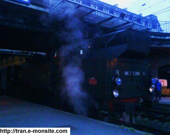 Locomotive à vapeur 141 TD 740 en gare de Bordeaux