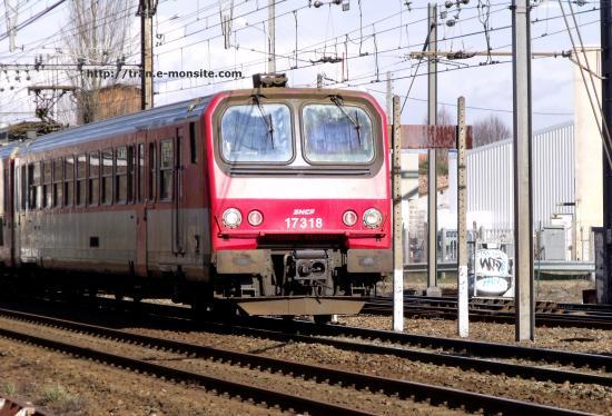 Autorail Z 7318 rouge en gare de Bègles le 17/02/10