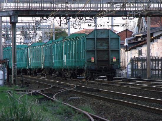 Train de transport de bois quittant le triage