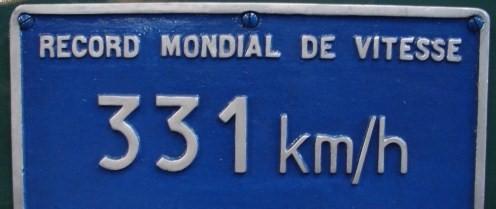 En quelle année la vitesse de 331 km/h fut elle atteinte par la CC7107 ?
